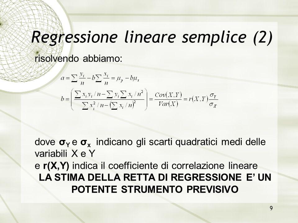 9 Regressione lineare semplice (2) risolvendo abbiamo: dove σ Y e σ x indicano gli scarti quadratici medi delle variabili X e Y e r(X,Y) indica il coe