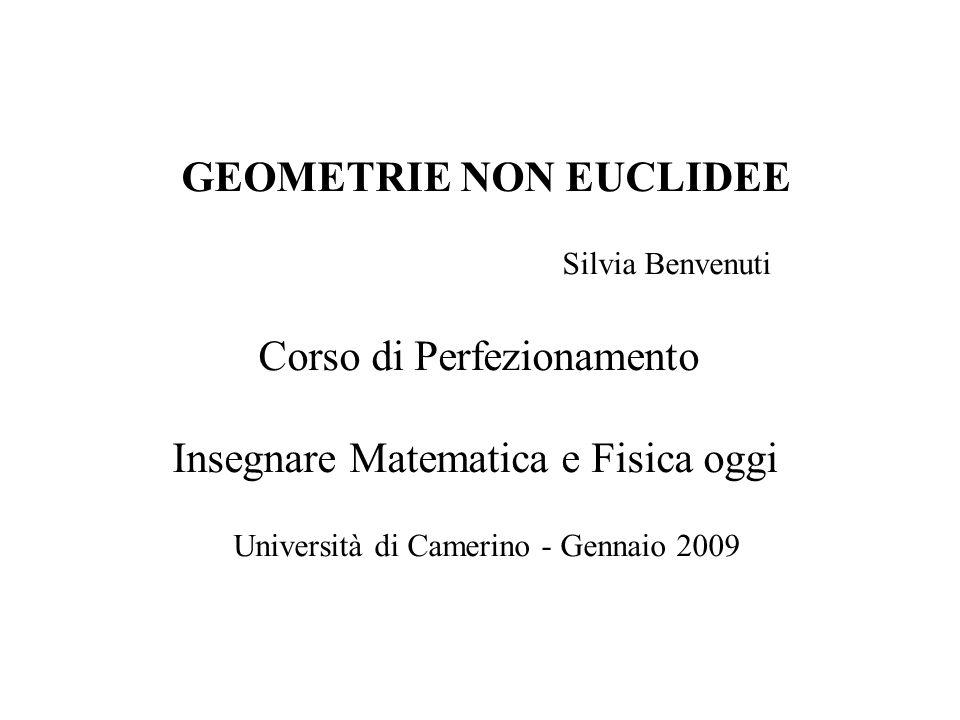 GEOMETRIE NON EUCLIDEE Silvia Benvenuti Corso di Perfezionamento Insegnare Matematica e Fisica oggi Università di Camerino - Dicembre 2008 GEOMETRIE N
