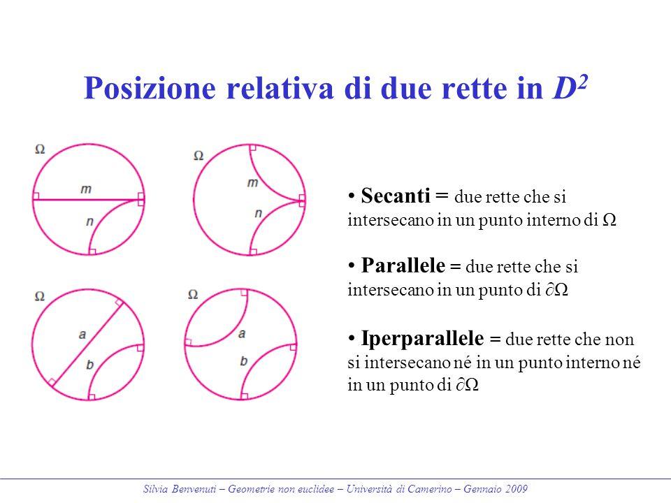 Silvia Benvenuti – Geometrie non euclidee – Università di Camerino – Gennaio 2009 Posizione relativa di due rette in D 2 Secanti = due rette che si in
