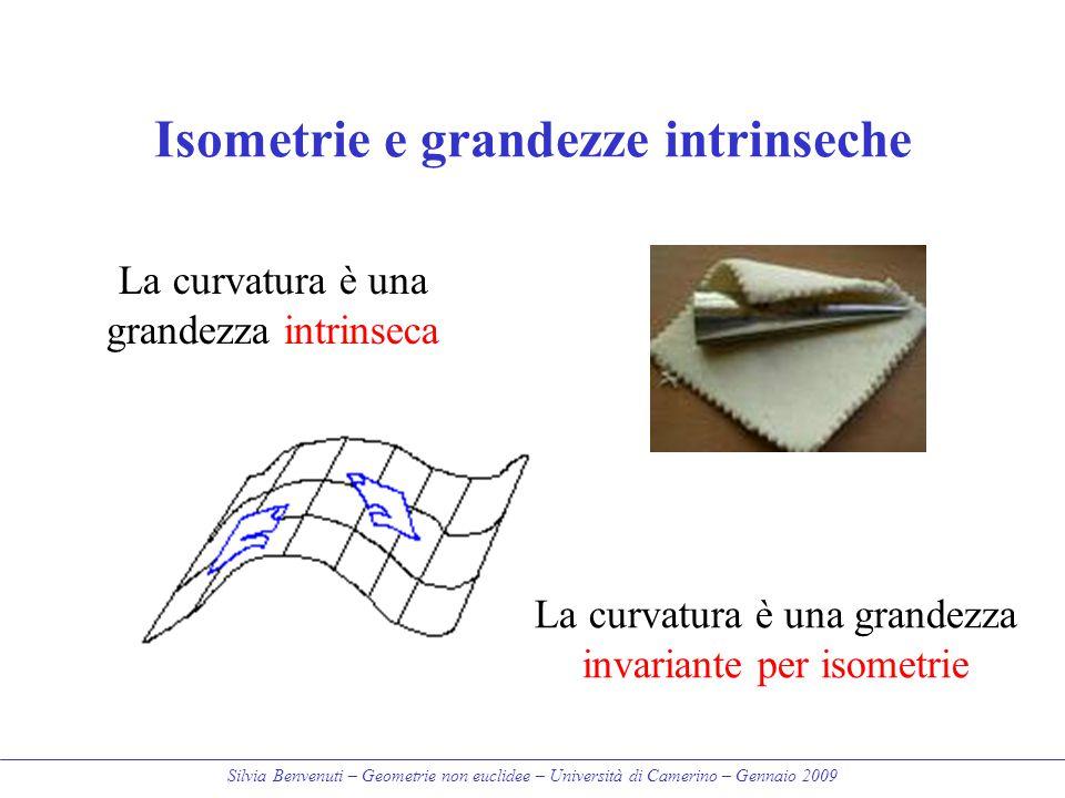 Silvia Benvenuti – Geometrie non euclidee – Università di Camerino – Gennaio 2009 Isometrie e grandezze intrinseche La curvatura è una grandezza intri