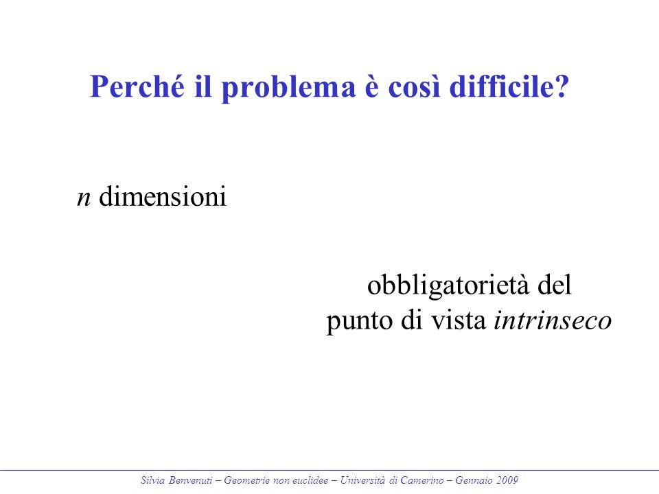 Silvia Benvenuti – Geometrie non euclidee – Università di Camerino – Gennaio 2009 Perché il problema è così difficile? n dimensioni obbligatorietà del