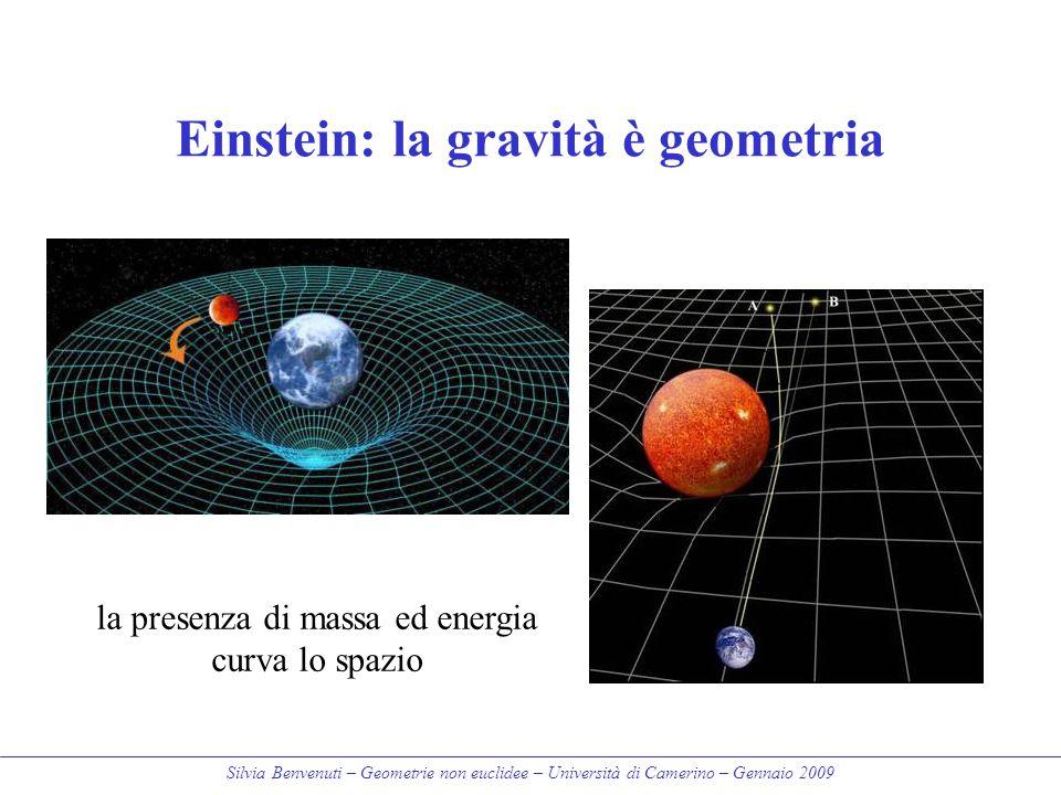 Silvia Benvenuti – Geometrie non euclidee – Università di Camerino – Gennaio 2009 Einstein: la gravità è geometria la presenza di massa ed energia cur