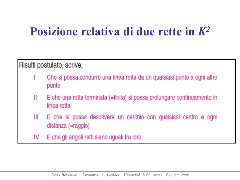 Silvia Benvenuti – Geometrie non euclidee – Università di Camerino – Gennaio 2009 Posizione relativa di due rette in K 2 Secanti = le rette che inters