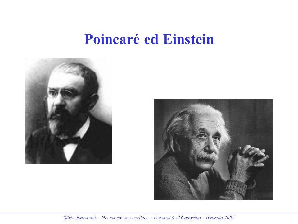 Silvia Benvenuti – Geometrie non euclidee – Università di Camerino – Gennaio 2009 Poincaré ed Einstein