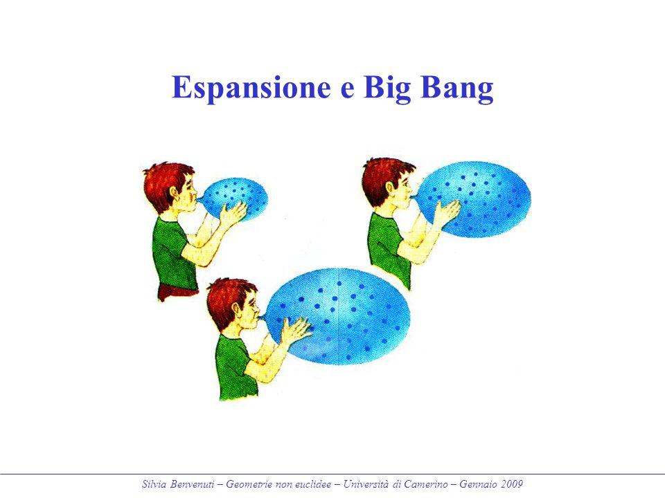 Silvia Benvenuti – Geometrie non euclidee – Università di Camerino – Gennaio 2009 Espansione e Big Bang