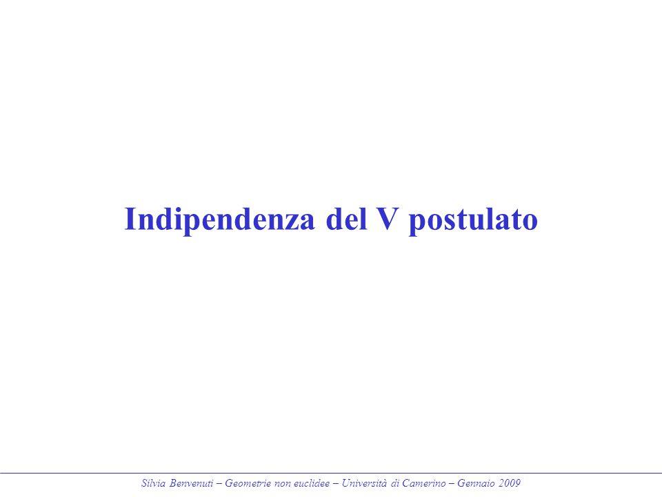 Silvia Benvenuti – Geometrie non euclidee – Università di Camerino – Gennaio 2009 Indipendenza del V postulato