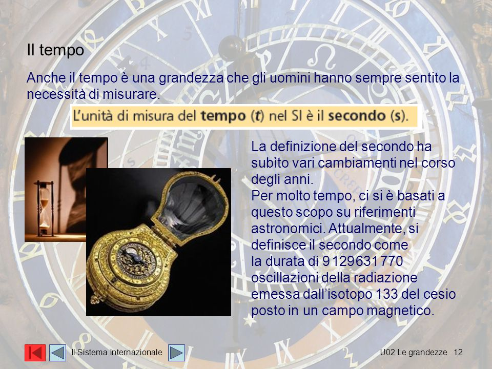 12 Anche il tempo è una grandezza che gli uomini hanno sempre sentito la necessità di misurare.