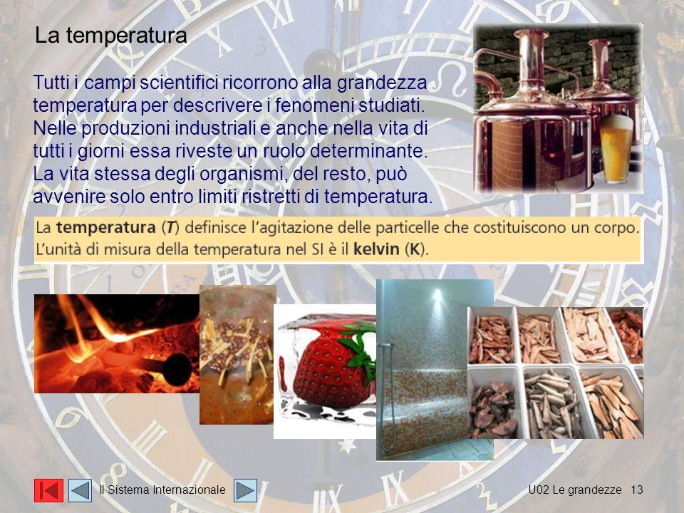 13 Tutti i campi scientifici ricorrono alla grandezza temperatura per descrivere i fenomeni studiati.