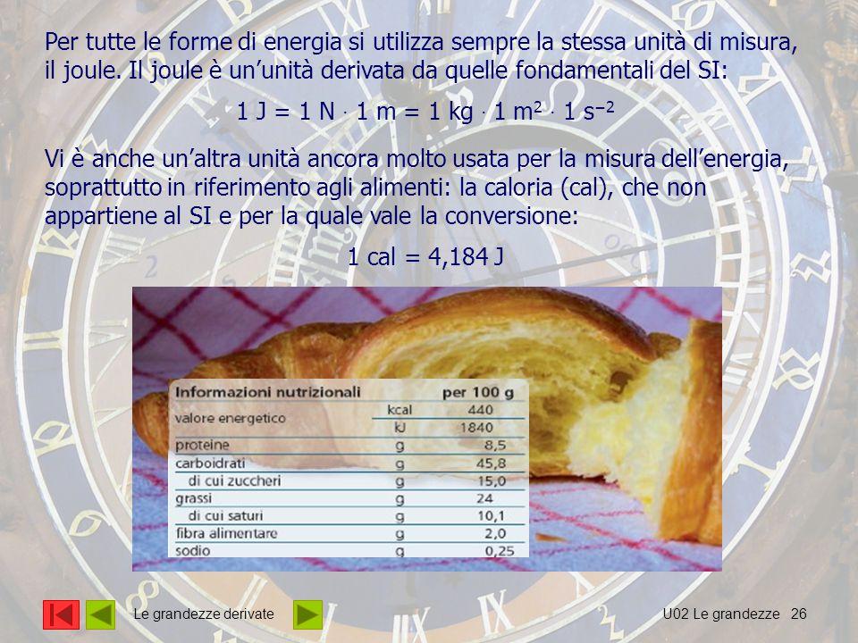 26 Per tutte le forme di energia si utilizza sempre la stessa unità di misura, il joule.