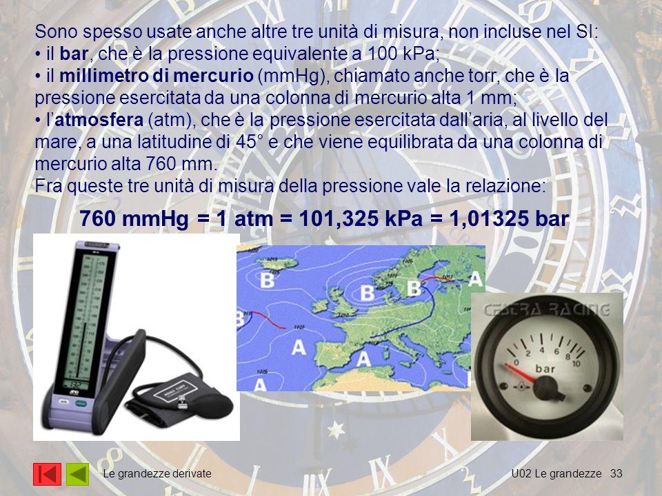 33 Sono spesso usate anche altre tre unità di misura, non incluse nel SI: il bar, che è la pressione equivalente a 100 kPa; il millimetro di mercurio (mmHg), chiamato anche torr, che è la pressione esercitata da una colonna di mercurio alta 1 mm; l'atmosfera (atm), che è la pressione esercitata dall'aria, al livello del mare, a una latitudine di 45° e che viene equilibrata da una colonna di mercurio alta 760 mm.