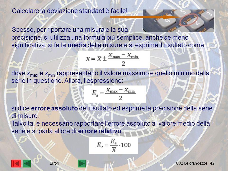 42 Spesso, per riportare una misura e la sua Calcolare la deviazione standard è facile.