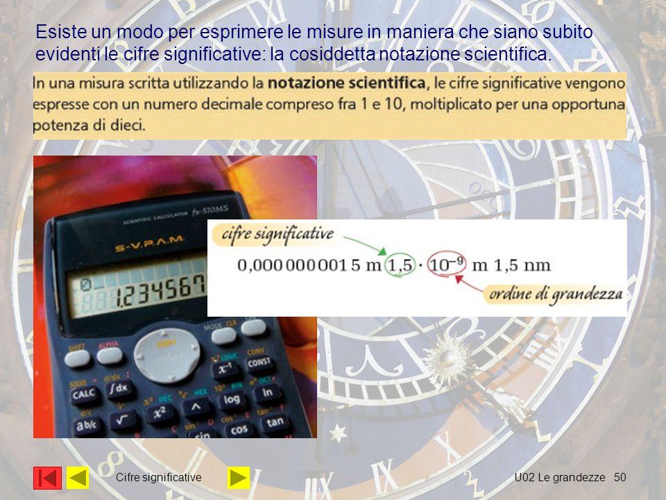 50 Esiste un modo per esprimere le misure in maniera che siano subito evidenti le cifre significative: la cosiddetta notazione scientifica. U02 Le gra