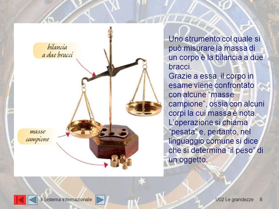 8 Uno strumento col quale si può misurare la massa di un corpo è la bilancia a due bracci. Grazie a essa, il corpo in esame viene confrontato con alcu