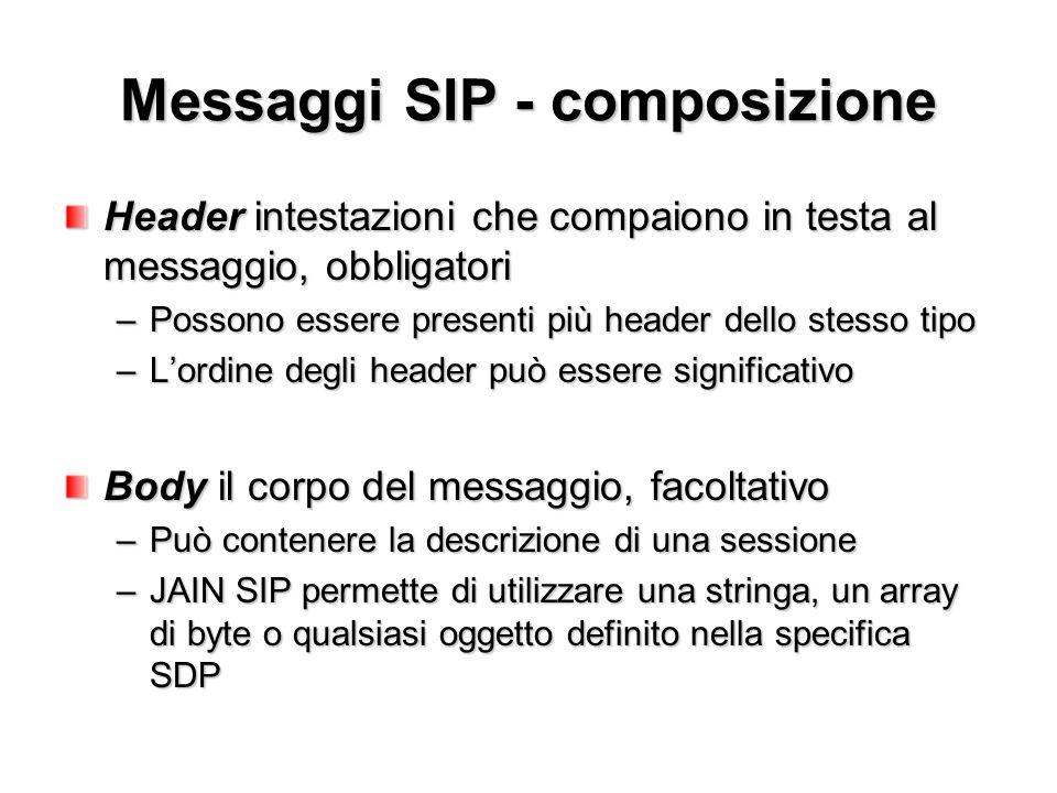 Messaggi SIP - composizione Header intestazioni che compaiono in testa al messaggio, obbligatori –Possono essere presenti più header dello stesso tipo