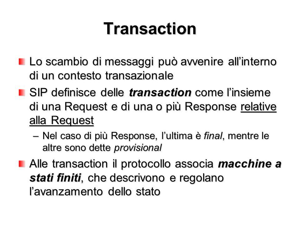 Transaction Lo scambio di messaggi può avvenire all'interno di un contesto transazionale SIP definisce delle transaction come l'insieme di una Request