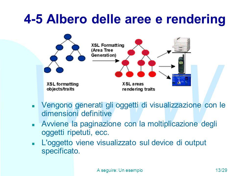 WWW A seguire: Un esempio13/29 4-5 Albero delle aree e rendering n Vengono generati gli oggetti di visualizzazione con le dimensioni definitive n Avviene la paginazione con la moltiplicazione degli oggetti ripetuti, ecc.