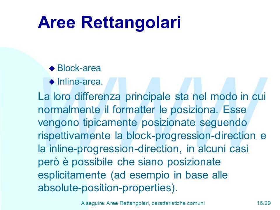 WWW A seguire: Aree Rettangolari, caratteristiche comuni16/29 Aree Rettangolari u Block-area u Inline-area. La loro differenza principale sta nel modo