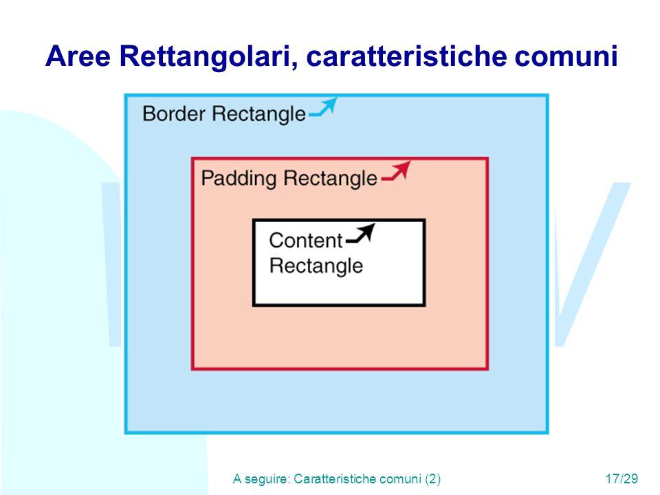 WWW A seguire: Caratteristiche comuni (2)17/29 Aree Rettangolari, caratteristiche comuni