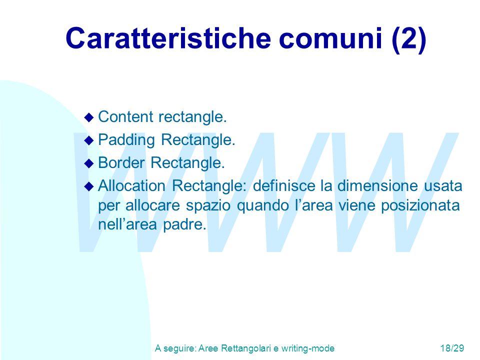 WWW A seguire: Aree Rettangolari e writing-mode18/29 Caratteristiche comuni (2) u Content rectangle. u Padding Rectangle. u Border Rectangle. u Alloca