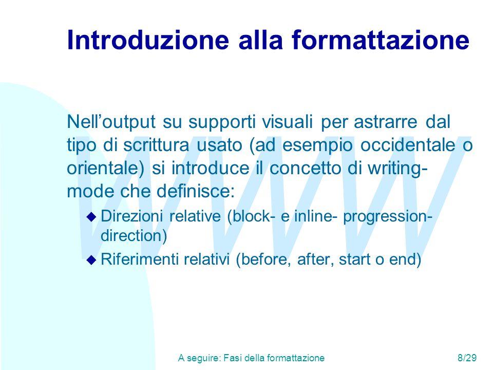 WWW A seguire: Fasi della formattazione8/29 Introduzione alla formattazione Nell'output su supporti visuali per astrarre dal tipo di scrittura usato (