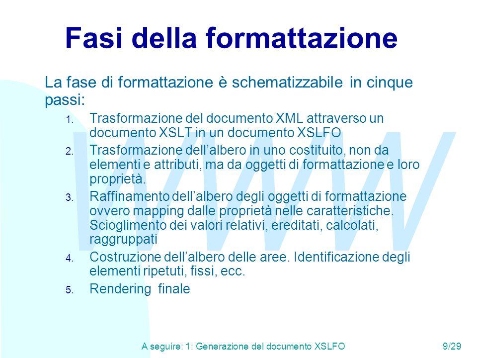 WWW A seguire: 1: Generazione del documento XSLFO9/29 Fasi della formattazione La fase di formattazione è schematizzabile in cinque passi: 1. Trasform