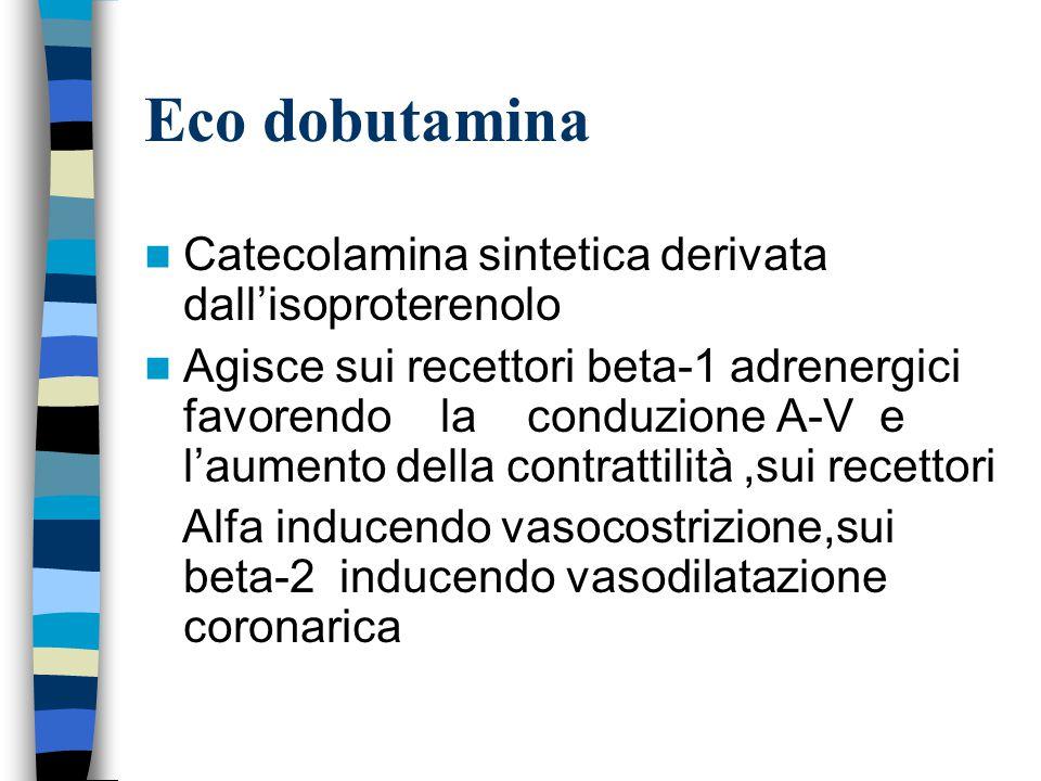 Eco dobutamina Catecolamina sintetica derivata dall'isoproterenolo Agisce sui recettori beta-1 adrenergici favorendo la conduzione A-V e l'aumento della contrattilità,sui recettori Alfa inducendo vasocostrizione,sui beta-2 inducendo vasodilatazione coronarica