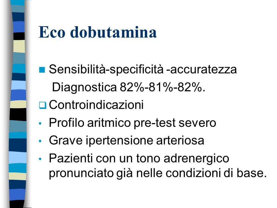 Eco dobutamina Sensibilità-specificità -accuratezza Diagnostica 82%-81%-82%.