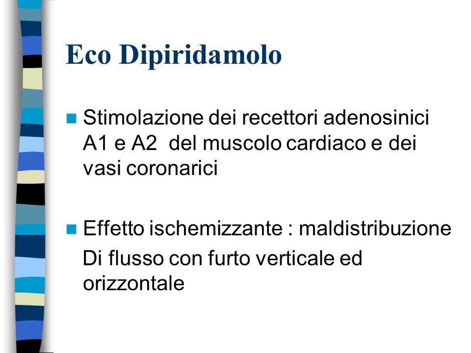Eco Dipiridamolo Stimolazione dei recettori adenosinici A1 e A2 del muscolo cardiaco e dei vasi coronarici Effetto ischemizzante : maldistribuzione Di flusso con furto verticale ed orizzontale