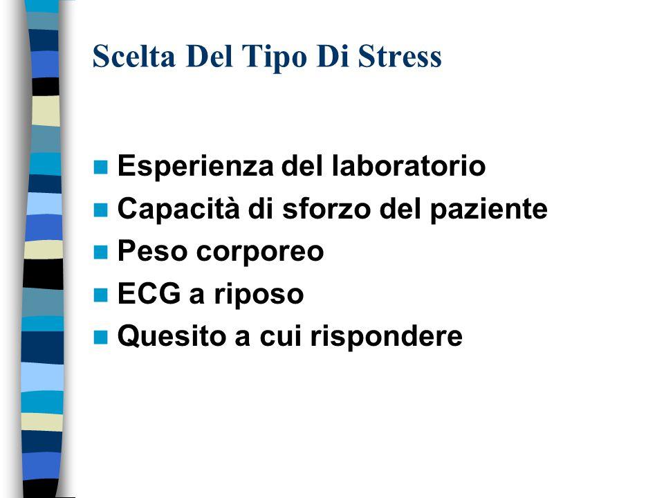 Scelta Del Tipo Di Stress Esperienza del laboratorio Capacità di sforzo del paziente Peso corporeo ECG a riposo Quesito a cui rispondere