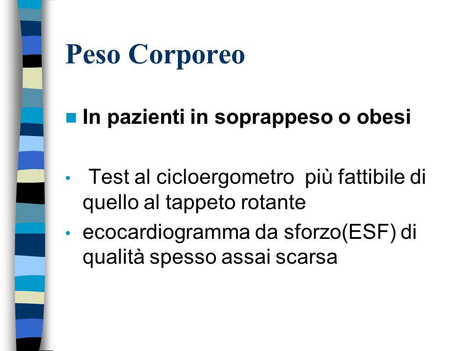 Peso Corporeo In pazienti in soprappeso o obesi Test al cicloergometro più fattibile di quello al tappeto rotante ecocardiogramma da sforzo(ESF) di qualità spesso assai scarsa