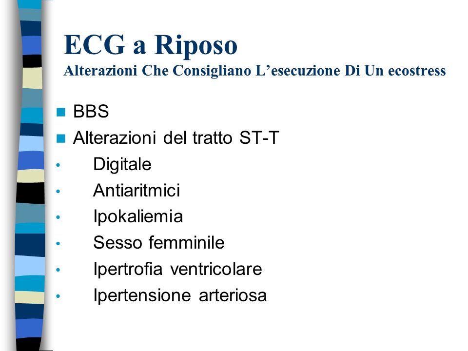 ECG a Riposo Alterazioni Che Consigliano L'esecuzione Di Un ecostress BBS Alterazioni del tratto ST-T Digitale Antiaritmici Ipokaliemia Sesso femminile Ipertrofia ventricolare Ipertensione arteriosa