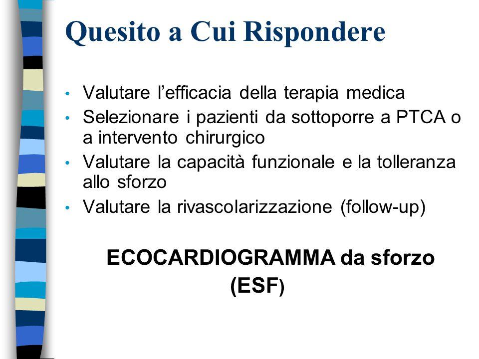 Quesito a Cui Rispondere Valutare l'efficacia della terapia medica Selezionare i pazienti da sottoporre a PTCA o a intervento chirurgico Valutare la capacità funzionale e la tolleranza allo sforzo Valutare la rivascolarizzazione (follow-up) ECOCARDIOGRAMMA da sforzo (ESF )