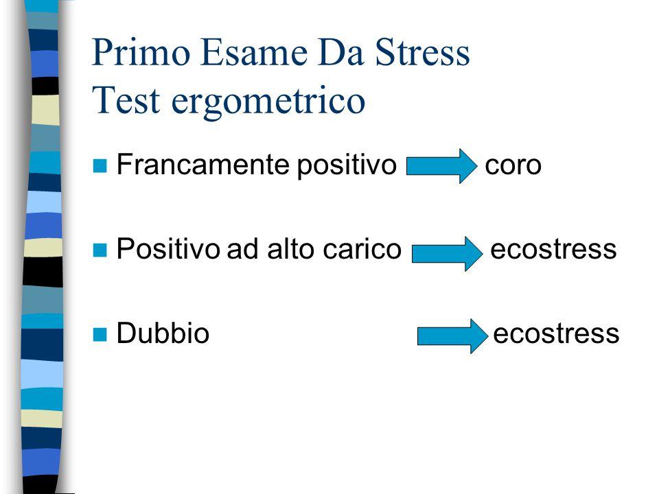 Primo Esame Da Stress Test ergometrico Francamente positivo coro Positivo ad alto carico ecostress Dubbio ecostress