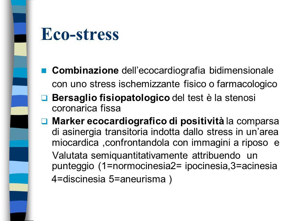 Eco-stress Combinazione dell'ecocardiografia bidimensionale con uno stress ischemizzante fisico o farmacologico  Bersaglio fisiopatologico del test è la stenosi coronarica fissa  Marker ecocardiografico di positività la comparsa di asinergia transitoria indotta dallo stress in un'area miocardica,confrontandola con immagini a riposo e Valutata semiquantitativamente attribuendo un punteggio (1=normocinesia2= ipocinesia,3=acinesia 4=discinesia 5=aneurisma )