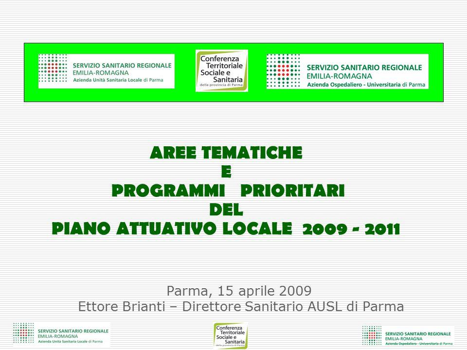 Parma, 15 aprile 2009 Ettore Brianti – Direttore Sanitario AUSL di Parma AREE TEMATICHE E PROGRAMMI PRIORITARI DEL PIANO ATTUATIVO LOCALE 2009 - 2011