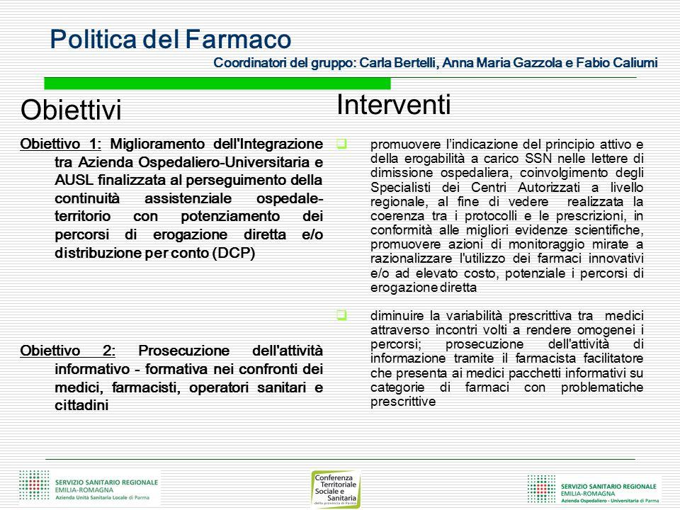 Politica del Farmaco Coordinatori del gruppo: Carla Bertelli, Anna Maria Gazzola e Fabio Caliumi Obiettivi Obiettivo 1: Miglioramento dell'Integrazion