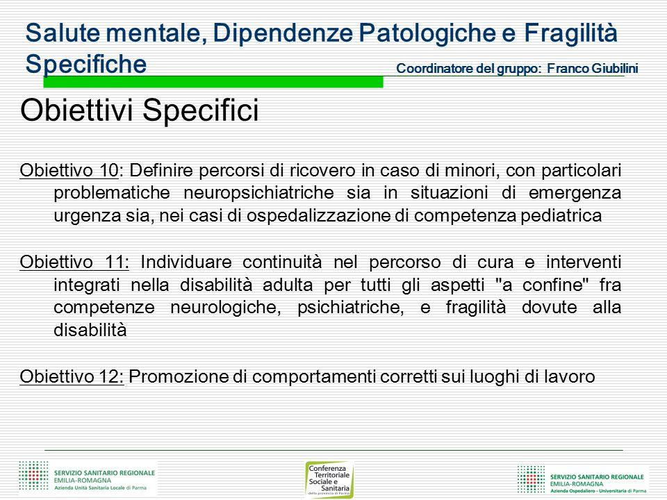 Obiettivi Specifici Obiettivo 10: Definire percorsi di ricovero in caso di minori, con particolari problematiche neuropsichiatriche sia in situazioni