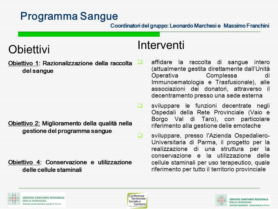 Programma Sangue Coordinatori del gruppo: Leonardo Marchesi e Massimo Franchini Obiettivi Obiettivo 1: Razionalizzazione della raccolta del sangue Obi