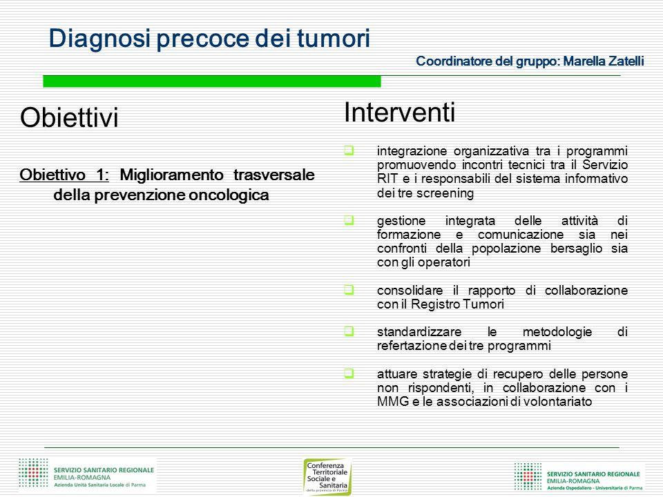 Diagnosi precoce dei tumori Coordinatore del gruppo: Marella Zatelli Obiettivi Obiettivo 1: Miglioramento trasversale della prevenzione oncologica Int