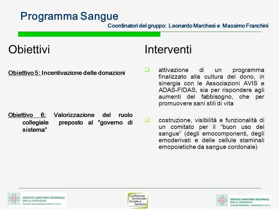 """Obiettivi Obiettivo 5: Incentivazione delle donazioni Obiettivo 6: Valorizzazione del ruolo collegiale preposto al """"governo di sistema"""" Interventi  a"""