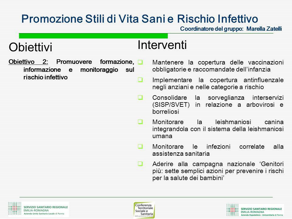 Obiettivi Obiettivo 2: Promuovere formazione, informazione e monitoraggio sul rischio infettivo Interventi  Mantenere la copertura delle vaccinazioni