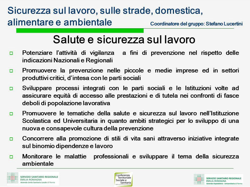 Salute e sicurezza sul lavoro  Potenziare l'attività di vigilanza a fini di prevenzione nel rispetto delle indicazioni Nazionali e Regionali  Promuo