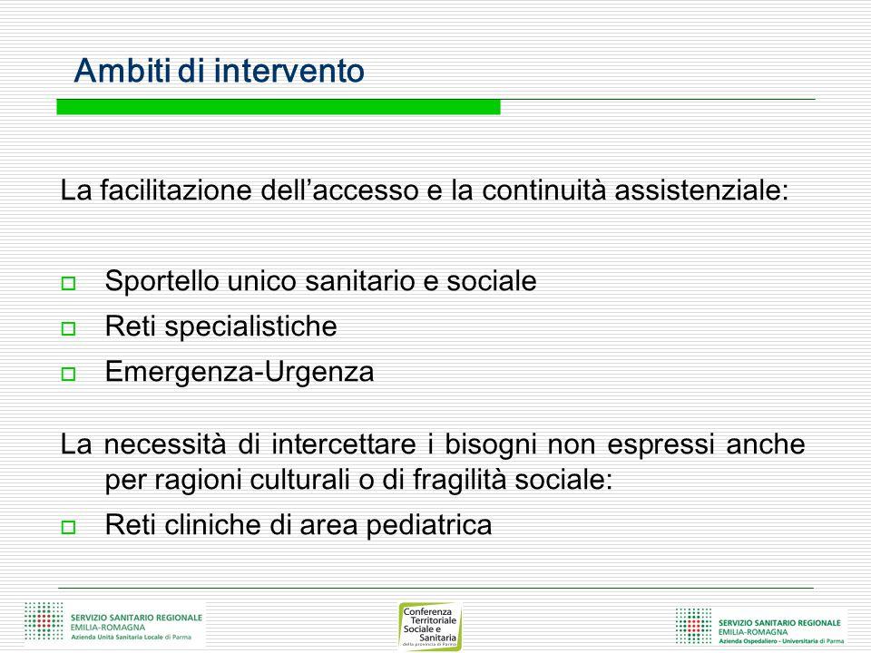 Ambiti di intervento La facilitazione dell'accesso e la continuità assistenziale:  Sportello unico sanitario e sociale  Reti specialistiche  Emerge