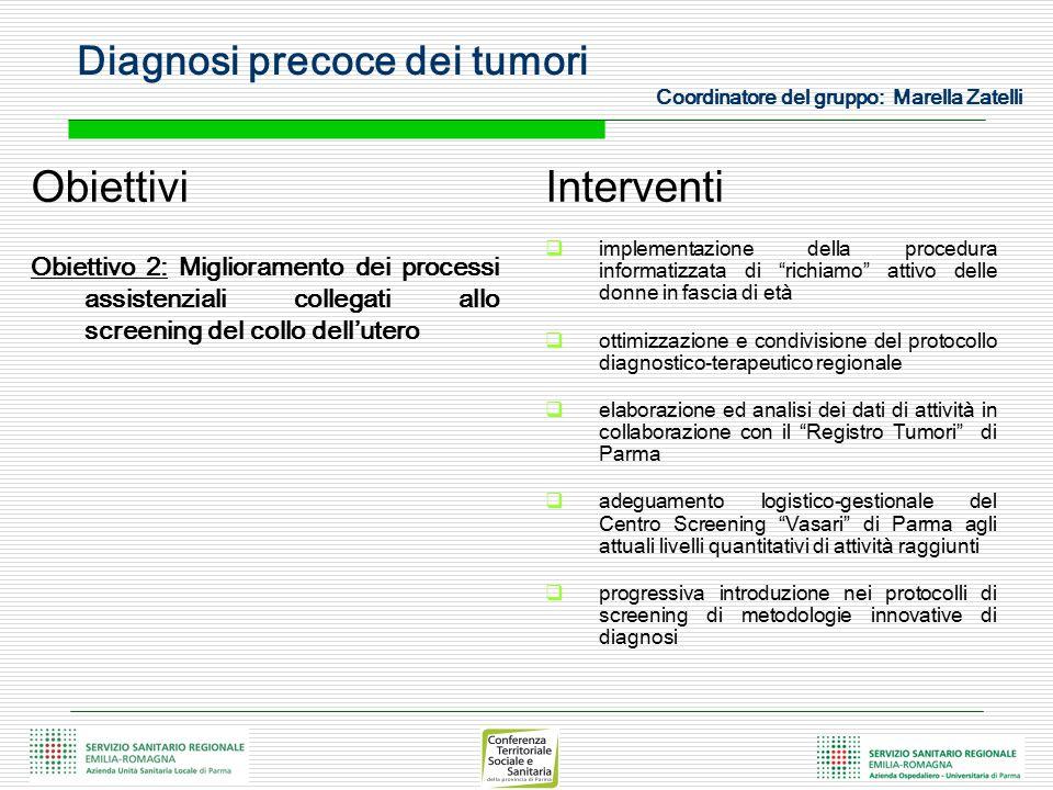 Diagnosi precoce dei tumori Coordinatore del gruppo: Marella Zatelli Obiettivi Obiettivo 2: Miglioramento dei processi assistenziali collegati allo sc