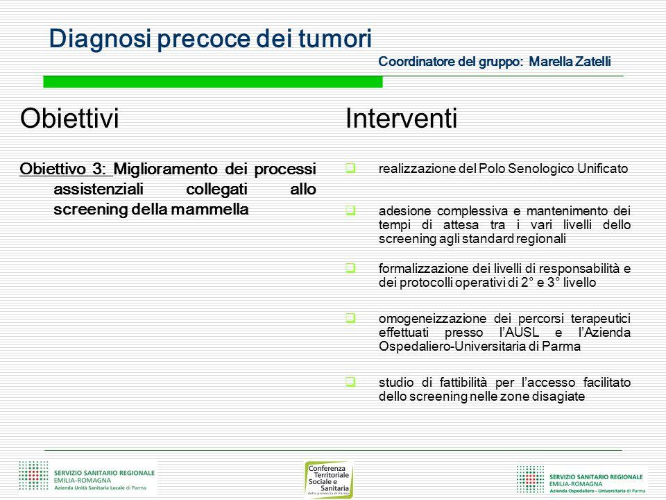 Diagnosi precoce dei tumori Coordinatore del gruppo: Marella Zatelli Obiettivi Obiettivo 3: Miglioramento dei processi assistenziali collegati allo sc