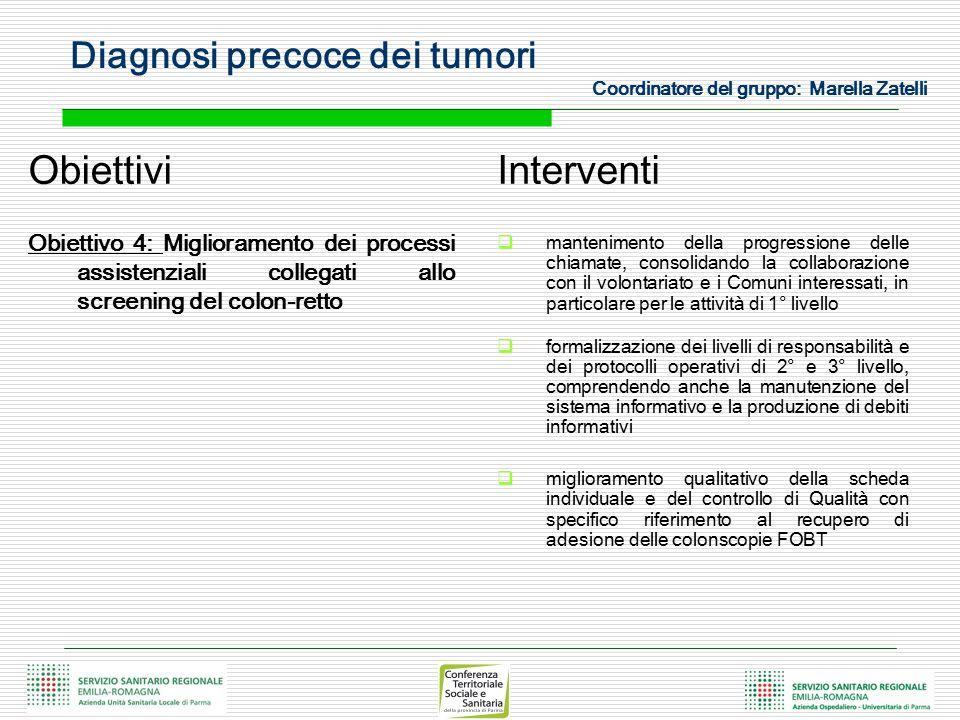 Diagnosi precoce dei tumori Coordinatore del gruppo: Marella Zatelli Obiettivi Obiettivo 4: Miglioramento dei processi assistenziali collegati allo sc