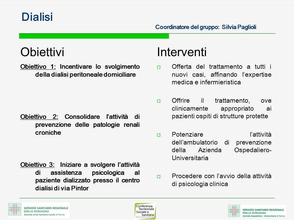 Obiettivi Obiettivo 4: Favorire l'integrazione sociale e professionale del paziente dializzato Obiettivo 5: Miglioramento del sistema dei trasporti Obiettivo 6: Creare sistemi di integrazione professionale tra personale infermieristico operante nei CAL della Azienda USL e personale infermieristico della Azienda Ospedaliero-Universitaria di Parma Interventi  Promuovere specifici percorsi a livello distrettuale rivolti a favorire l'integrazione sociale dell'anziano e del disabile con IRC e percorsi di integrazione lavorativa rivolti al paziente dializzato in età lavorativa  Individuare figure distrettuali di riferimento, promuovere i trasporti multipli, ricercare la possibilità di rispondere al bisogno di trasporto 'sociale'  Costituire uno spazio informatizzato dedicato in cui il personale infermieristico si confronta sui protocolli e le linee guida operative Dialisi Coordinatore del gruppo: Silvia Paglioli