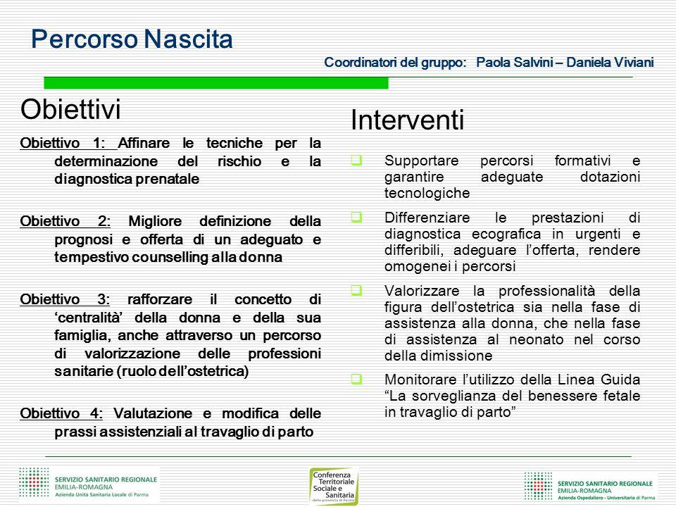 Percorso Nascita Coordinatori del gruppo: Paola Salvini – Daniela Viviani Obiettivi Obiettivo 1: Affinare le tecniche per la determinazione del rischi