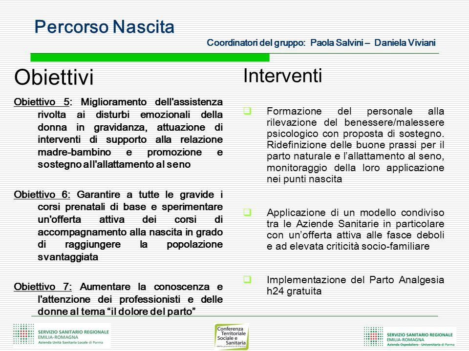 Obiettivi Obiettivo 5: Miglioramento dell'assistenza rivolta ai disturbi emozionali della donna in gravidanza, attuazione di interventi di supporto al
