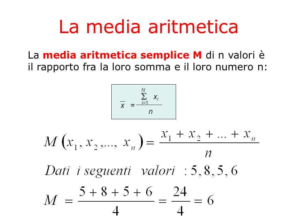 La media aritmetica La media aritmetica semplice M di n valori è il rapporto fra la loro somma e il loro numero n: x=  i=1 N xixi n